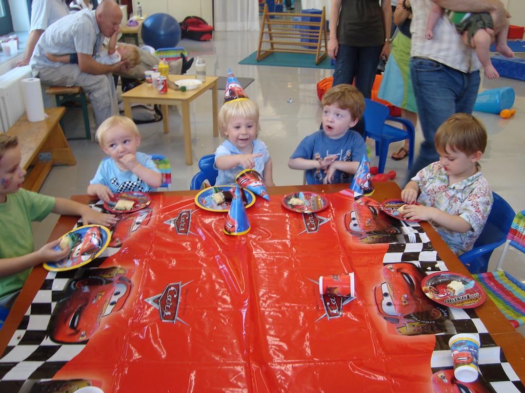 Harry, Danny, Oliver, Sam & Jack tucking into the yummy cake