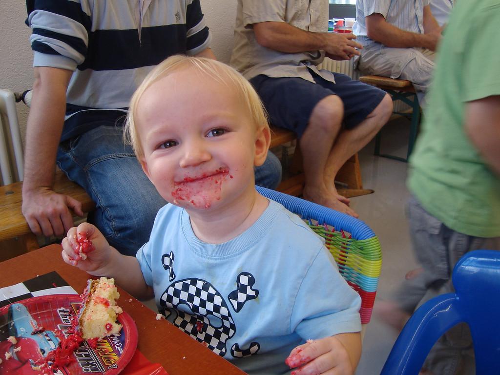 Danny really, really, really enjoyed the cake