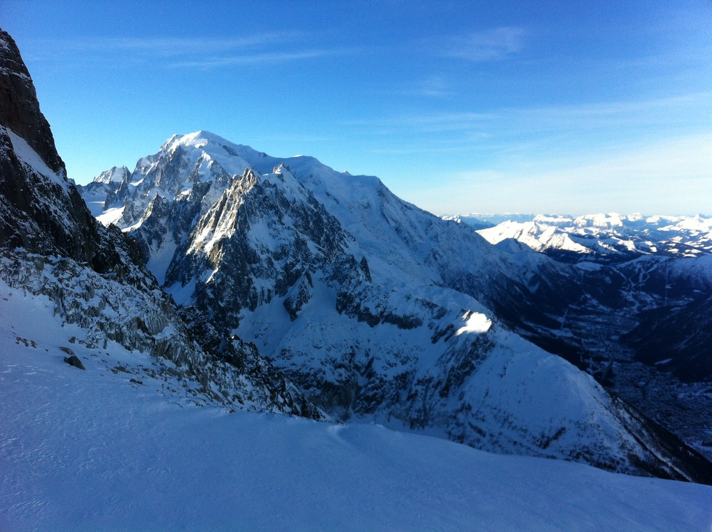 I had a beautiful morning to ski from the top of Grands Montets