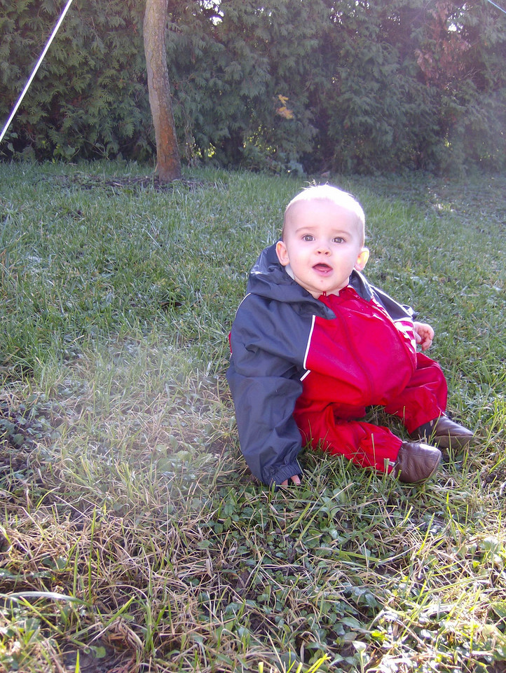 It was a beautiful Winter's day today so we put Jack in his (slightly too large) rain suit & had a play in the garden.