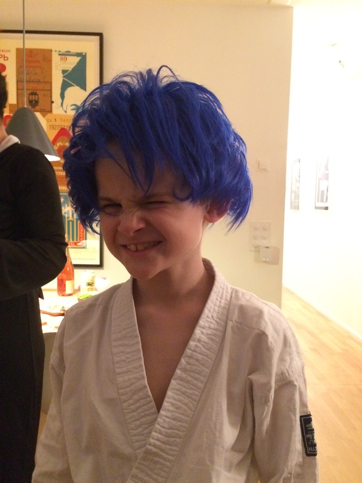 Karen had a Japanese-themed birthday party ... the boys wore their judo suits and commandeered this wig ...
