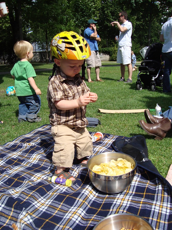 Danny's happy place: wearing a helmet & eating crisps (he's a bit obsessive about shoes & helmets)