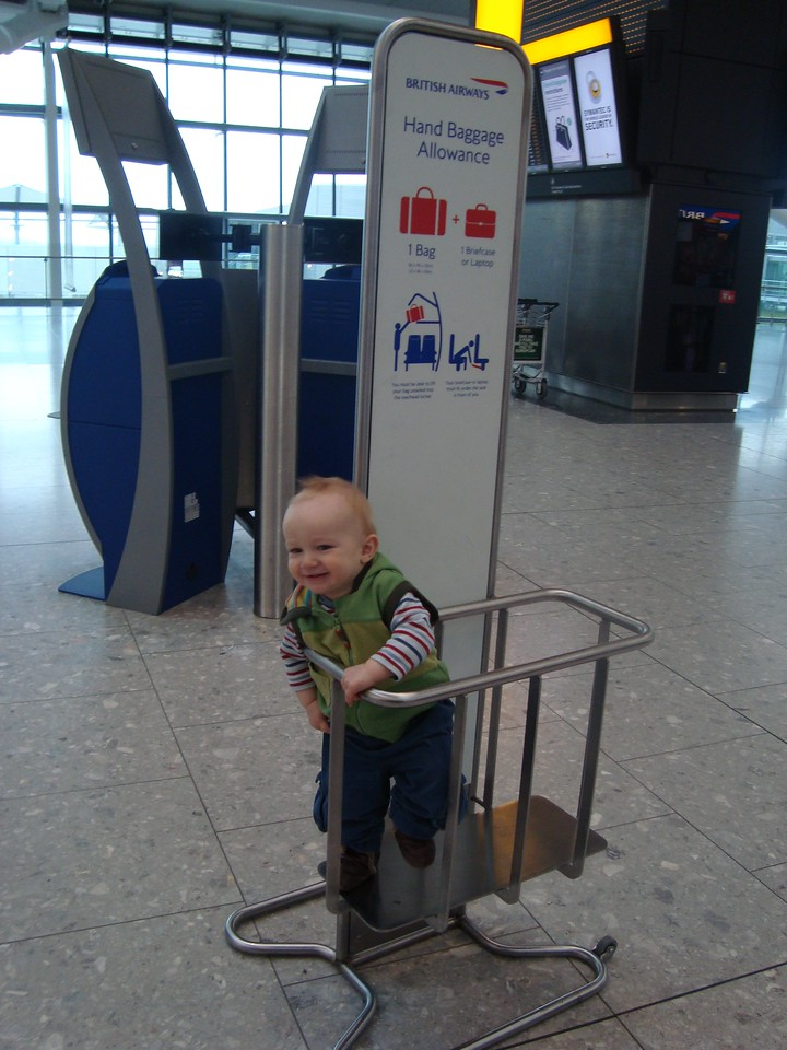 We put Danny in the hand luggage measurer whilst we queued to drop our check-in bags