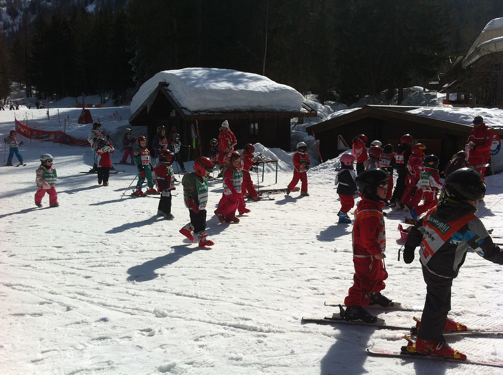 Danny walking back with his ski class