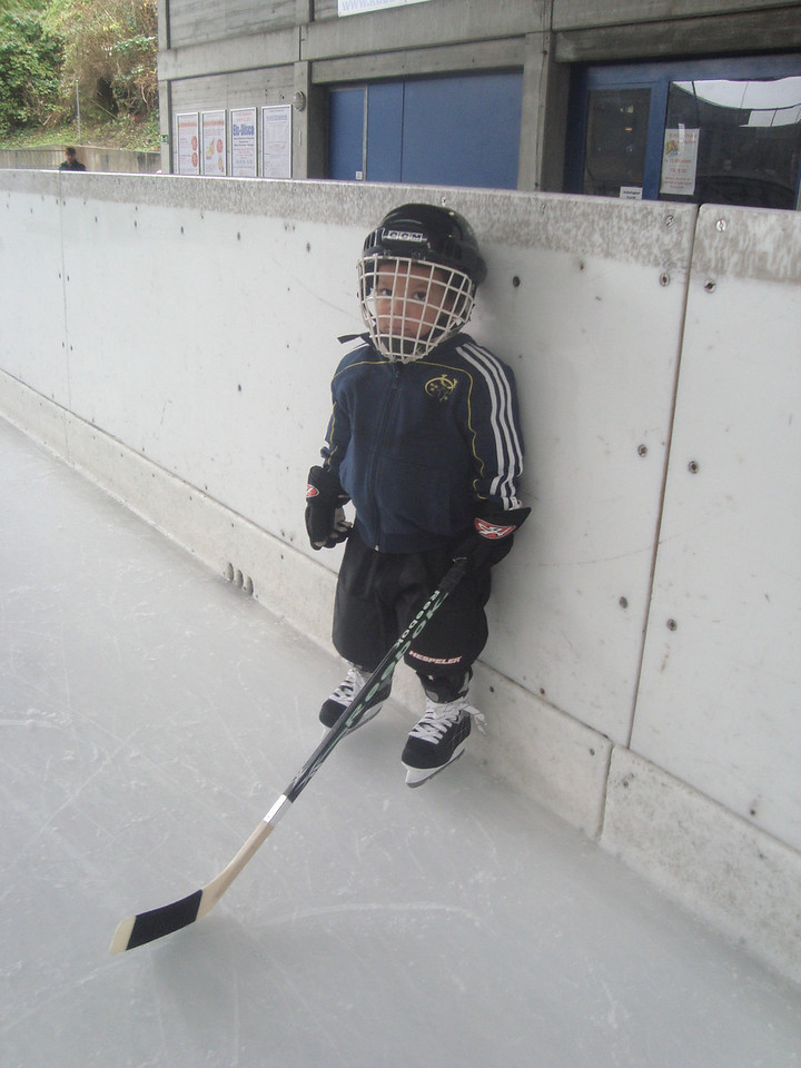 Cullen in full ice-hockey gear aged 3. His hockey lessons start this month