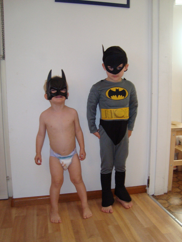 Baby Batman & Batman! One of my precious days staying home from work with the kiddies
